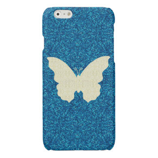 Lace Butterfly On Blue Glitter iPhone 6 Case