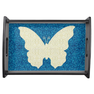 Lace Butterfly On Blue Glitter Serving Tray