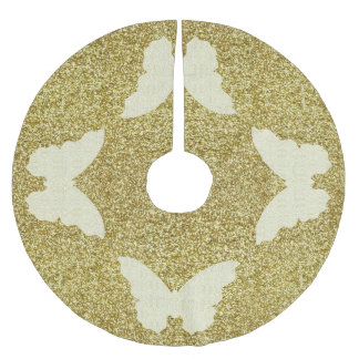 Lace Butterfly On Gold Glitter Tree Skirt