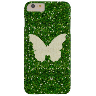 Lace Butterfly On Green Glitter iPhone 6 Case