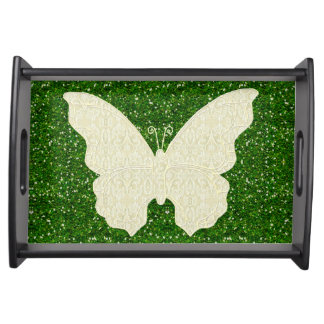 Lace Butterfly On Green Glitter Serving Tray