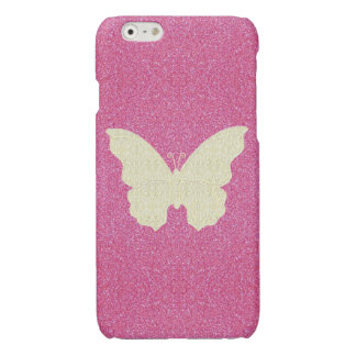 Lace Butterfly On Pink Glitter iPhone 6 Case