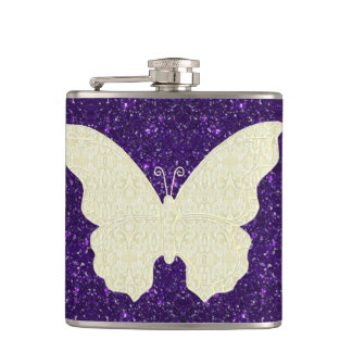 Lace Butterfly On Purple Glitter Flask