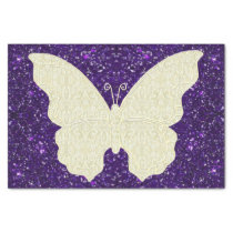 Lace Butterfly On Purple Glitter Tissue Paper