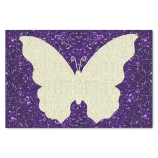 """Lace Butterfly On Purple Glitter Tissue Paper 10"""" X 15"""" Tissue Paper"""