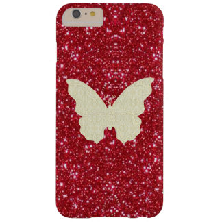 Lace Butterfly On Red Glitter iPhone 6 Case