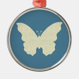Lace Butterfly Round Ornament