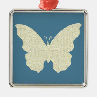 Lace Butterfly Square Ornament