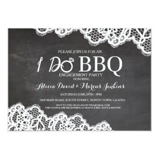 Lace Chalkboard I DO BBQ Engagement Party Invite