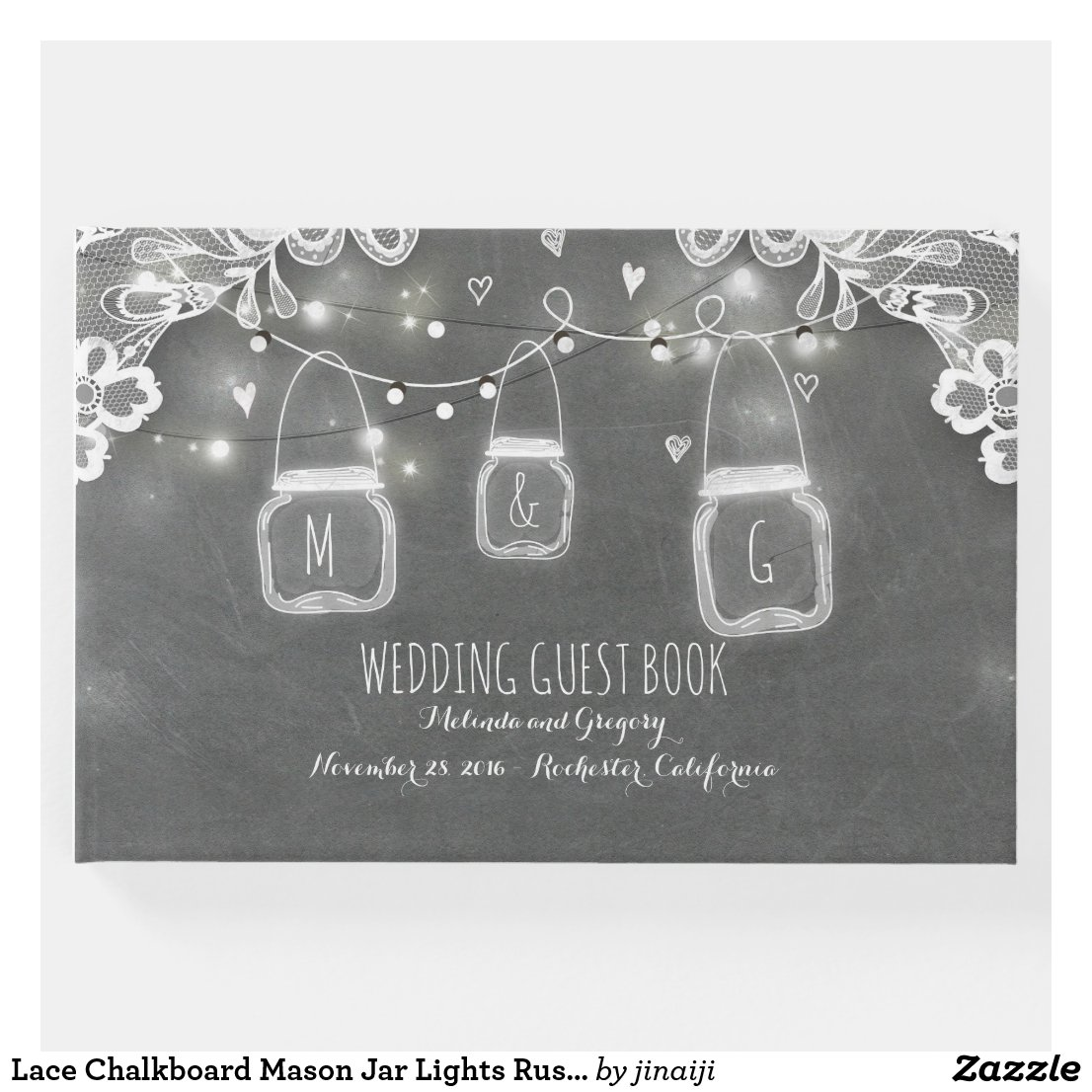 Lace Chalkboard Mason Jar Lights Rustic Wedding Guest Book