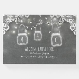 Lace Chalkboard Mason Jar Lights Rustic Wedding Guest Book