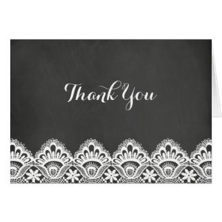 Lace & Chalkboard Thank You Card