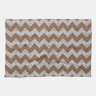 Lace Chevrons Against Rustic Burlap - Shabby Chic Towel
