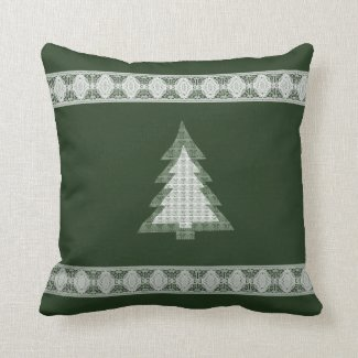 Lace Christmas Tree on Dark Green Pillow