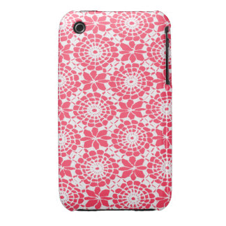Lace Circles iPhone 3 Case Neon Fuchsia Pink