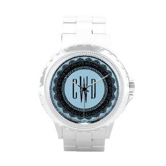 Lace Circles Monogram BLACK LACE V05 Watch
