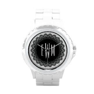 Lace Circles Monogram BLACK LACE V09 Watches
