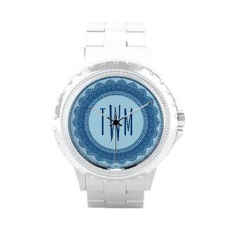 Lace Circles Monogram BLUE LACE V02 Wristwatches
