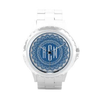 Lace Circles Monogram BLUE LACE V04 Wristwatches
