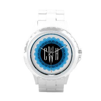 Lace Circles Monogram BLUE LACE V05D Wristwatch