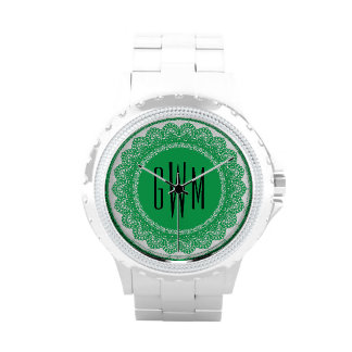 Lace Circles Monogram GREEN LACE V11 Wristwatch