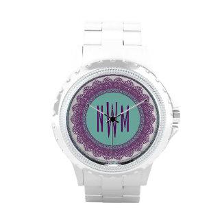 Lace Circles Monogram PURPLE LACE V12B Watch