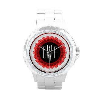 Lace Circles Monogram RED LACE V05B Wrist Watch