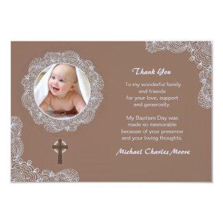 Lace Circular Photo Thank You Card