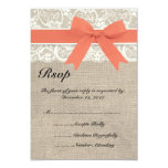 Lace & Coral Ribbon and Burlap Wedding RSVP Card Custom Invitations