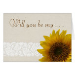Lace Country Rustic Sunflower Flower Girl Request Stationery Note Card