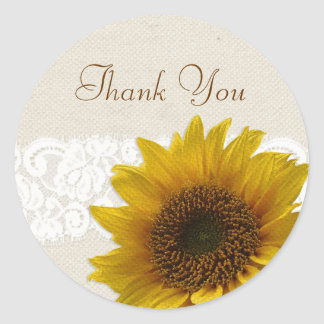 Lace Country Rustic Sunflower Thank You Stickers