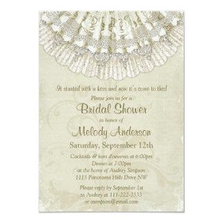 Lace Crochet Doilies Vintage Ivory Bridal Shower Personalized Invitation
