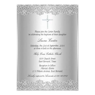 "Lace & Cross Baptism/Christening Invitation 5"" X 7"" Invitation Card"