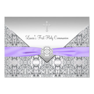 Lace Cross Girls Purple First Communion 5x7 Paper Invitation Card