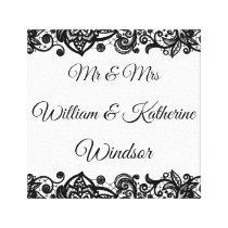 Lace Custom Mr & Mrs Canvas Wedding Decoration