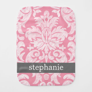 lace Damask Pattern Pink and Gray Burp Cloth