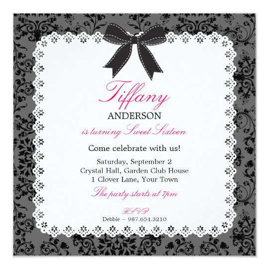 Lace & Damask with Black Bow Sweet 16 Birthday Card