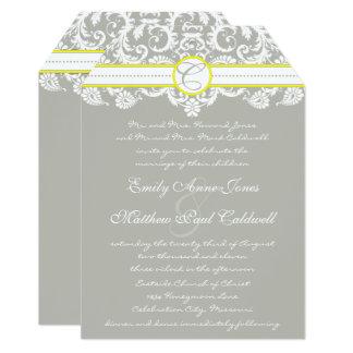 Lace Damask Yellow Wedding Invitation