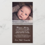 """Lace Dark Wood Custom Photo Baby Shower Thank You<br><div class=""""desc"""">Rustic and sweet photo thank you card featuring white lace atop dark wood.</div>"""