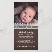 Lace Dark Wood Custom Photo Baby Shower Thank You