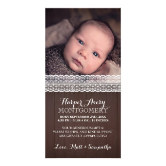 Lace Dark Wood Custom Photo Baby Shower Thank You Card