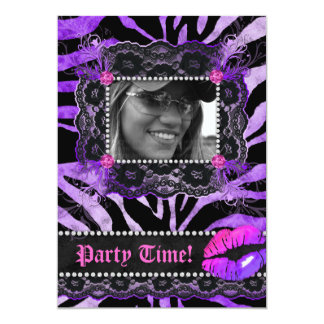 Lace Diamonds Birthday Party Zebra Purple Lips Card