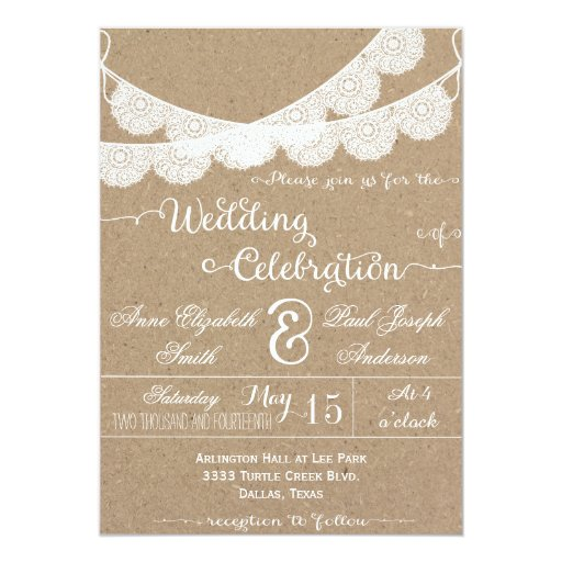 Lace Doilies Rustic Wedding Invitations X