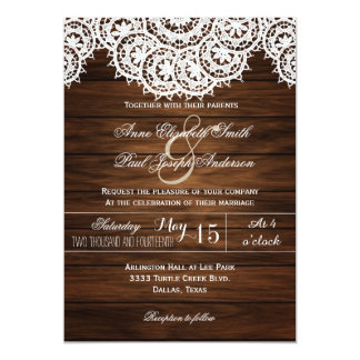 Lace Doilies Wood Rustic Wedding Invitations V