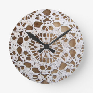 Lace Doily Photo Round Clock