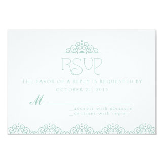 """Lace Doily RSVP Card in Mint 3.5"""" X 5"""" Invitation Card"""