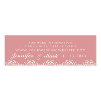 Lace Doily Wedding Website Card in Blush Double-Sided Mini Business Cards (Pack Of 20)