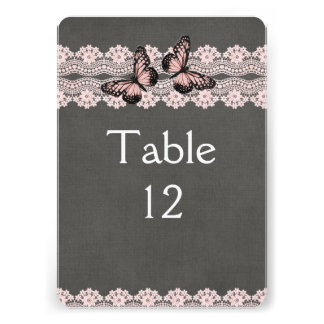 Lace Dream Pink Butterfly Table card