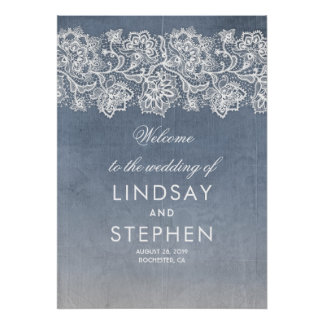 Lace Dusty Blue Vintage Wedding Welcome Sign