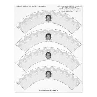 Lace Edge Cupcake Cosie - White - Customizable Letterhead